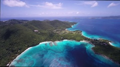 Aerial view of Hawksnest Bay, St John Stock Footage