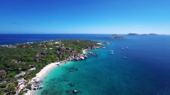 Aerial view of Spring Bay, the baths, Virgin Gorda Stock Footage