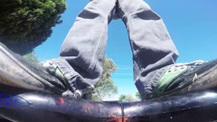 Man Riding Hoverboard GoPro Shot Stock Footage