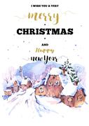 Christmas vertical frame vector card with winter landscape greet Stock Illustration