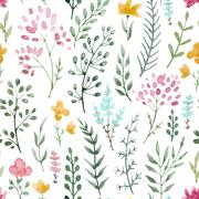 Watercolor floral pattern Stock Illustration