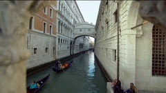 Venice Italy. Gondola Passing on the Canal Stock Footage