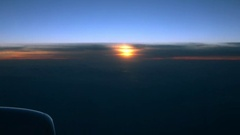 Time-lapse of sundown sky view from the aircraft window. 4k Ultra HD Stock Footage