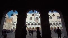 People Walking on the Streets in Venice in Piazza San Marco Stock Footage