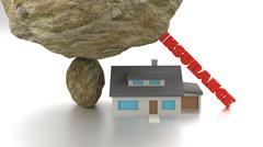 House insurence concept with house under a rock Stock Illustration