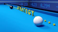 Billiard strategy business concept on blue Piirros