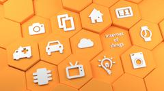 Orange hexagon towers with internet of things icons Stock Illustration