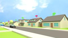 Insecure wifi neighbourhood houses with wifi symbols Stock Illustration