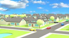 Small village low poly daylight scene Stock Illustration