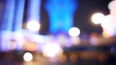 Defocused Casino and Traffic Lights in Macau Stock Footage
