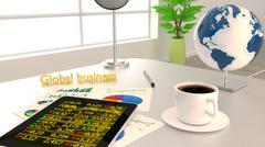 Global business office desk tablet charts Stock Illustration