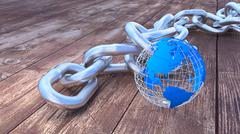 Global security heavy silver chain with globe Stock Illustration