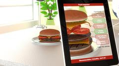 Augmented reality burger food analysis Stock Illustration