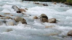 Mountain river Chon-Ak-Suu. Grigoriev Gorge. Issyk Kul Lake. Kyrgyzstan Stock Footage