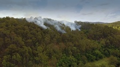 4K Aerial Of Australian Bushfire In Forest Dolly In Stock Footage