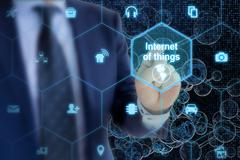The internet of things symbols on network background Stock Photos