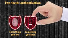Two factor authentication shields concept have and are Stock Photos