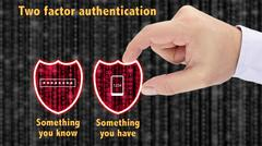 Two factor authentication shields concept have and know Stock Photos