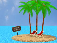 Passive income tropical island work anywhere concept Piirros