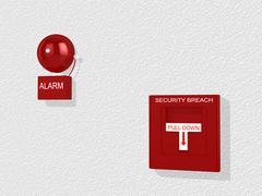 Security breach warning siren and alarm switch Stock Illustration