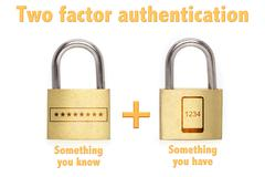 Two factor authentication padlocks concept know and have Stock Photos