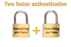 Two factor authentication padlocks concept isolated on white Stock Photos