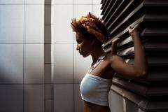 Portrait of fashion beautiful african girl with bright makeup outside Stock Photos