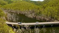 4K Aerial Pan Of Tweed River and Bridge D Stock Footage