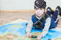 Child boy playing pirate Stock Photos
