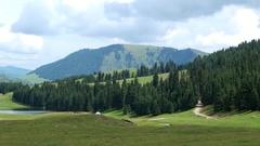 Lake in the mountains. Chon-Ak-Suu. Grigoriev Gorge. Issyk Kul. Kyrgyzstan Stock Footage