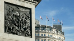 Trafalgar Square, base of Nelson's Column. Stock Footage