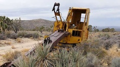 Zoom Out of Abandon Mining Crane on the Mojave Desert Stock Footage