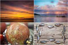 Collage. sea.fishing theme Stock Photos