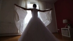Bride preparing for dressing dresses Stock Footage