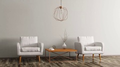 Interior with two armchairs, coffee table and lamp 3d animation Stock Footage