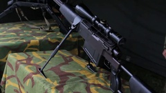 Military weapon-the sniper Stock Footage