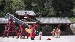 Miao guy performing on knife blade with bare feet Stock Footage