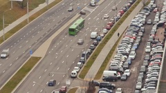 Road with car traffic. Car parking. Timelapse Stock Footage