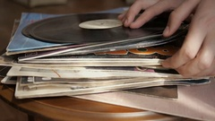 Vintage records, browsing the records in LP collection. Stock Footage