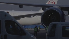 Aircraft in airport departure terminal. Travel Transportation Airplane Terminal. Stock Footage