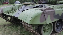Tracks and wheels of the military tank Stock Footage