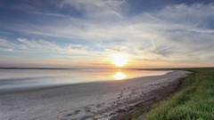 4K. Sunset in the steppe near the salt lake Lopuhovatoe, Rostov region, Russia,  Stock Footage