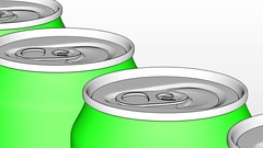 Green metal cans on industrial conveyor Stock Footage