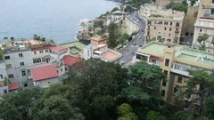 Bay of Naples in the autumn overcast day, residential area on the coast Stock Footage