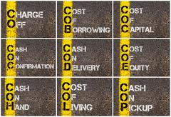 Photo collage of Business Acronyms Stock Photos