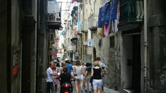 Narrow city street with markets from top view in Naples spanish quarter in italy Stock Footage