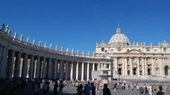 Facade of St. Peter's Square and in front of the palace Stock Footage