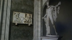 Apollo Belvedere sculpture in the Pio-Clementine museum Stock Footage
