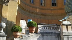 St Paul's Cathedral. Fontana della Pigna Pine Cone Fountain Stock Footage