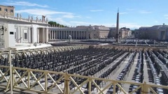 Audience perspective with empty plastic seats in St. Peter's Square Stock Footage